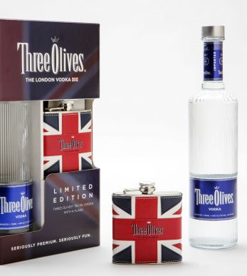 Three Olives liquor bottle and packaging