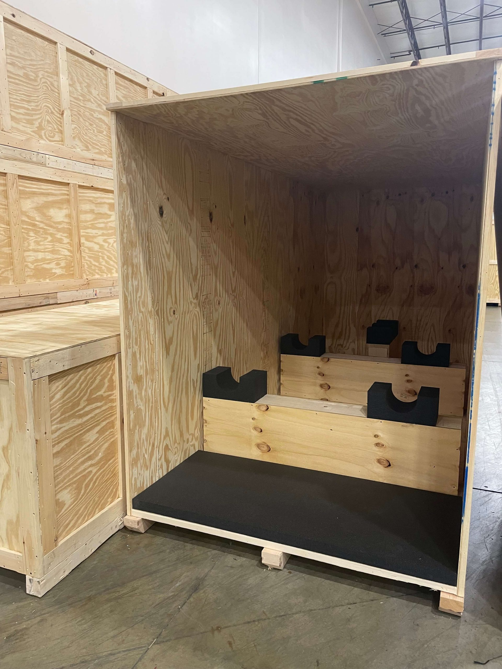 inside big shipping crate